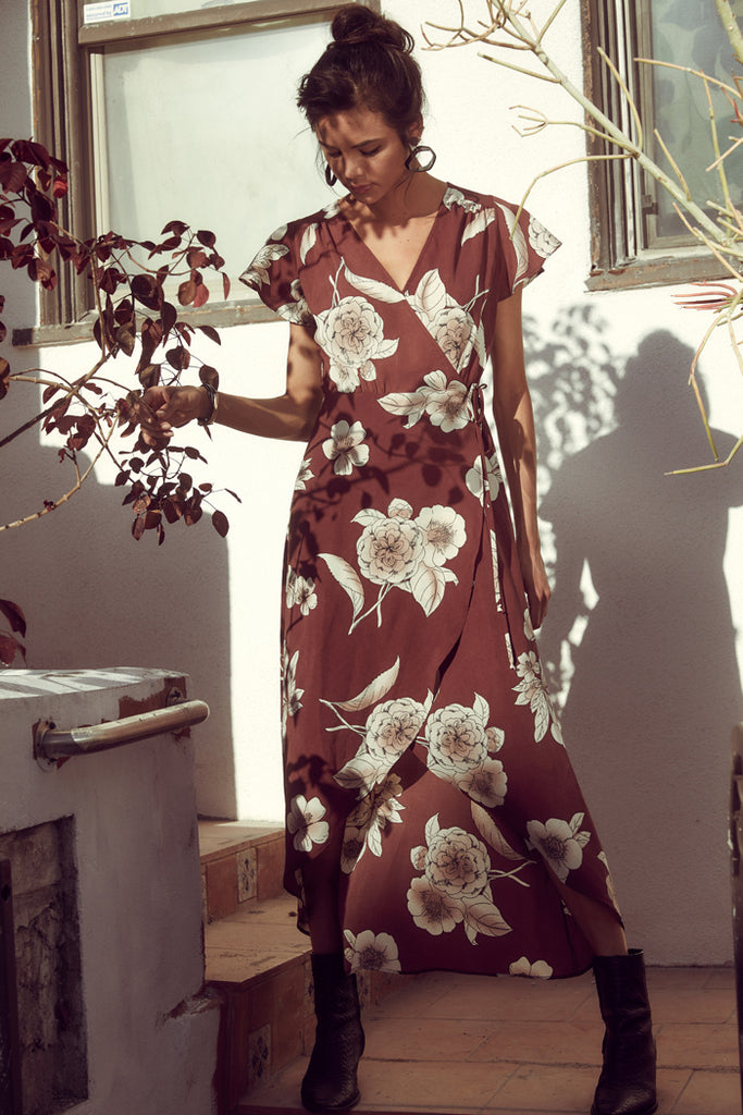 sage the label burgundy floral wrap dress