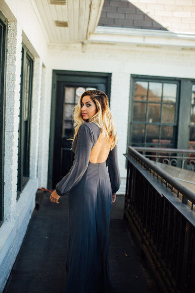 lush maxi charcoal grey dress with open back