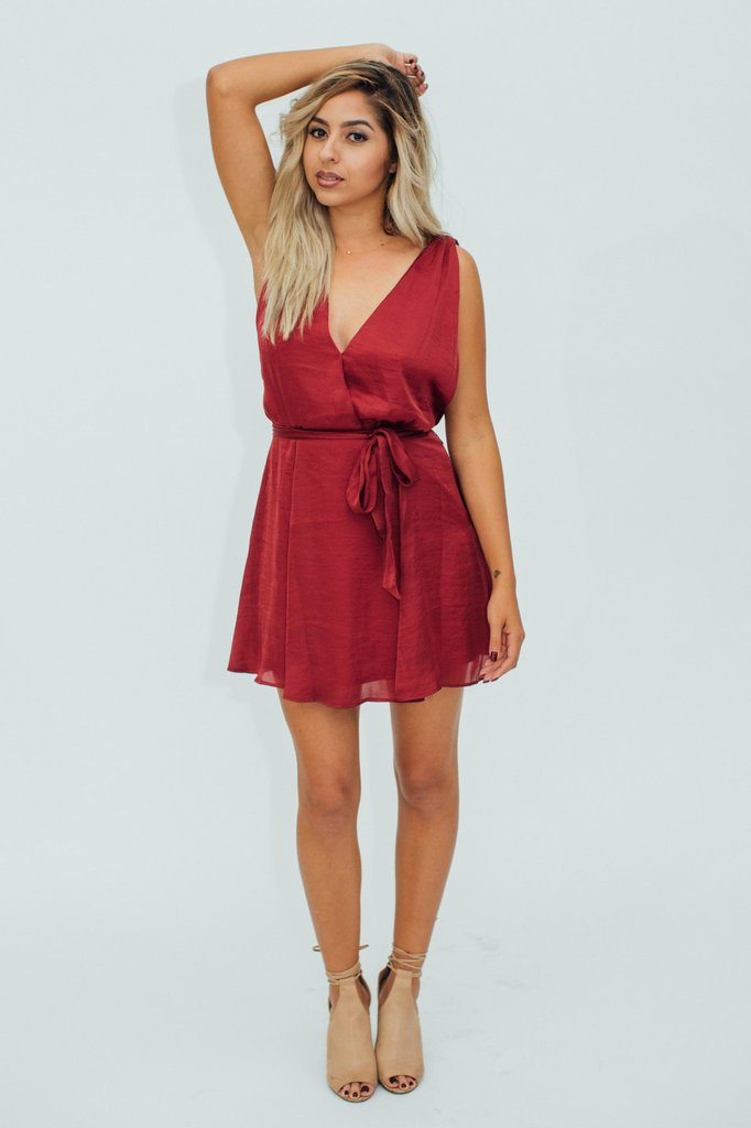 3b312b1adc2 ... Show Me Your Mumu. The tie waist nips in at the perfect place and rich  red is ideal for the holiday season. Style with lots of gold.