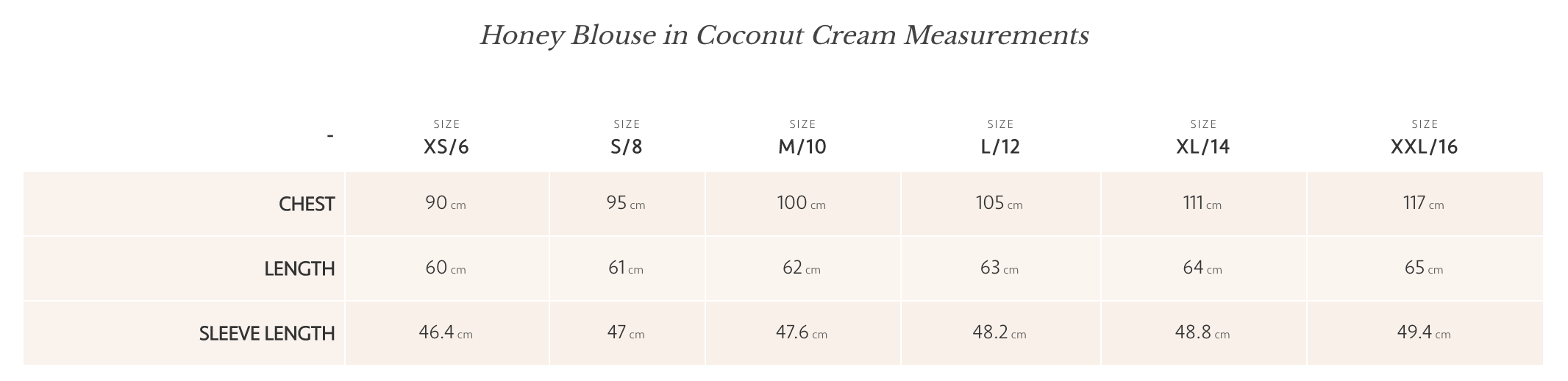 Coconut Honey Blouse Size Guide