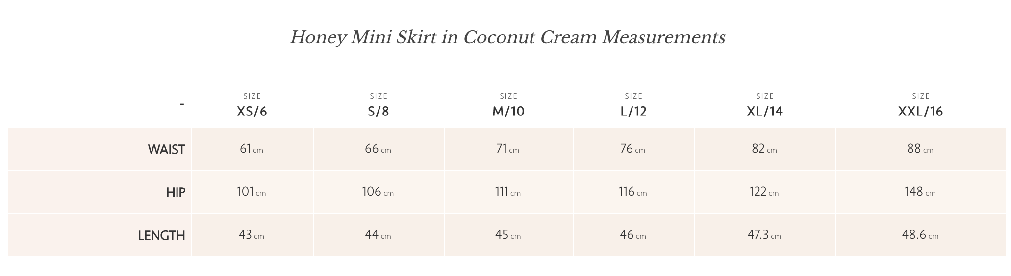 Coconut Cream Honey Mini Skirt