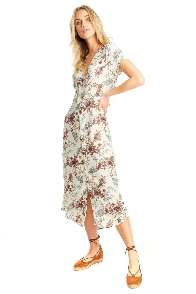 blonde model in neutral floral midi length dress with short sleeves