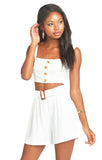 White Linen Adeline Crop Top