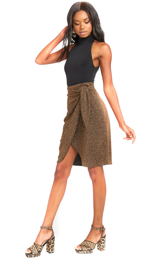 Gold Me Up Stripe Anjolie Wrap Skirt