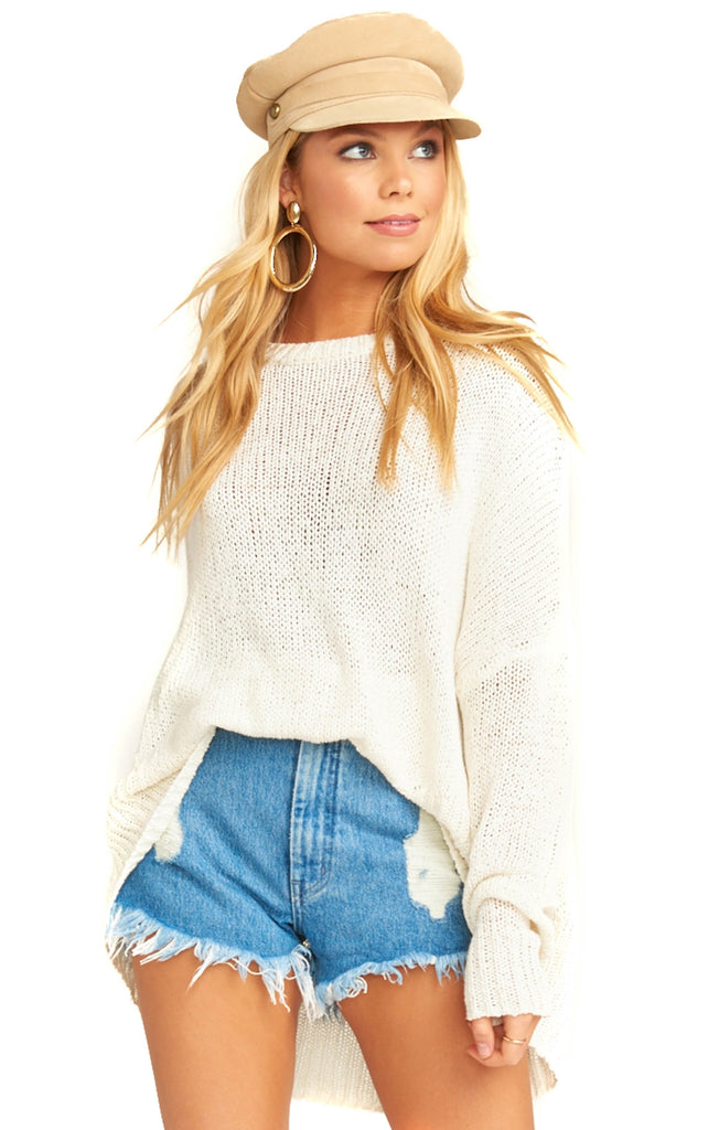 show me your mumu white knit anya sweater