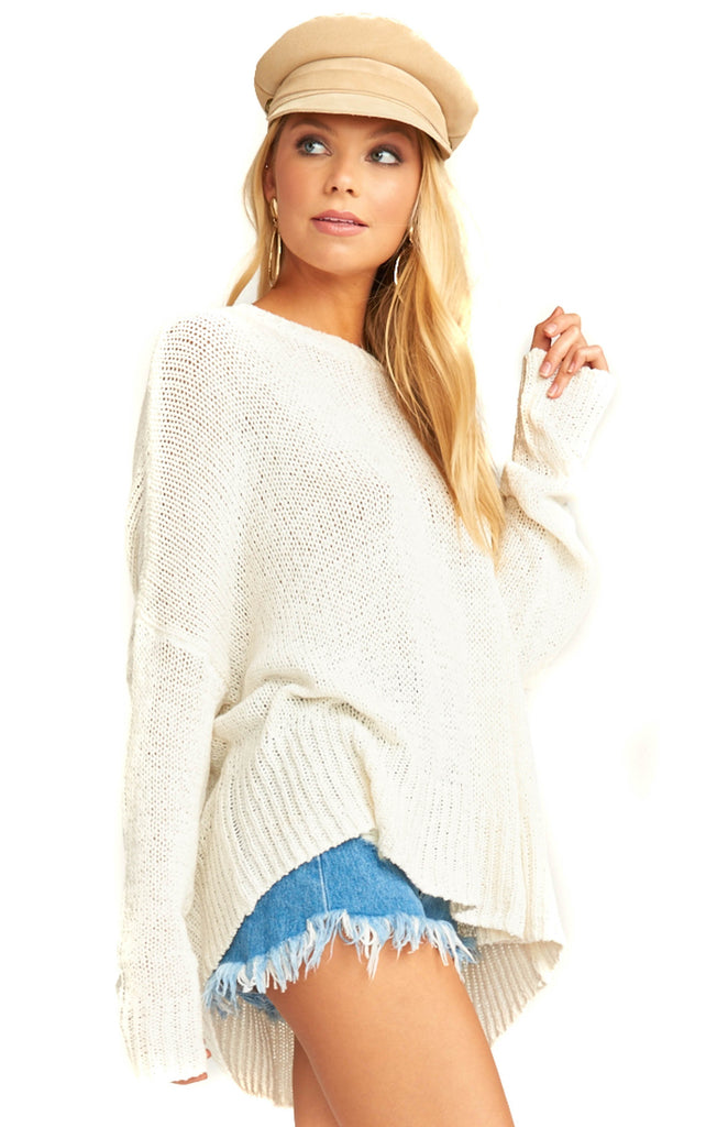 oversized white lightweight knit sweater