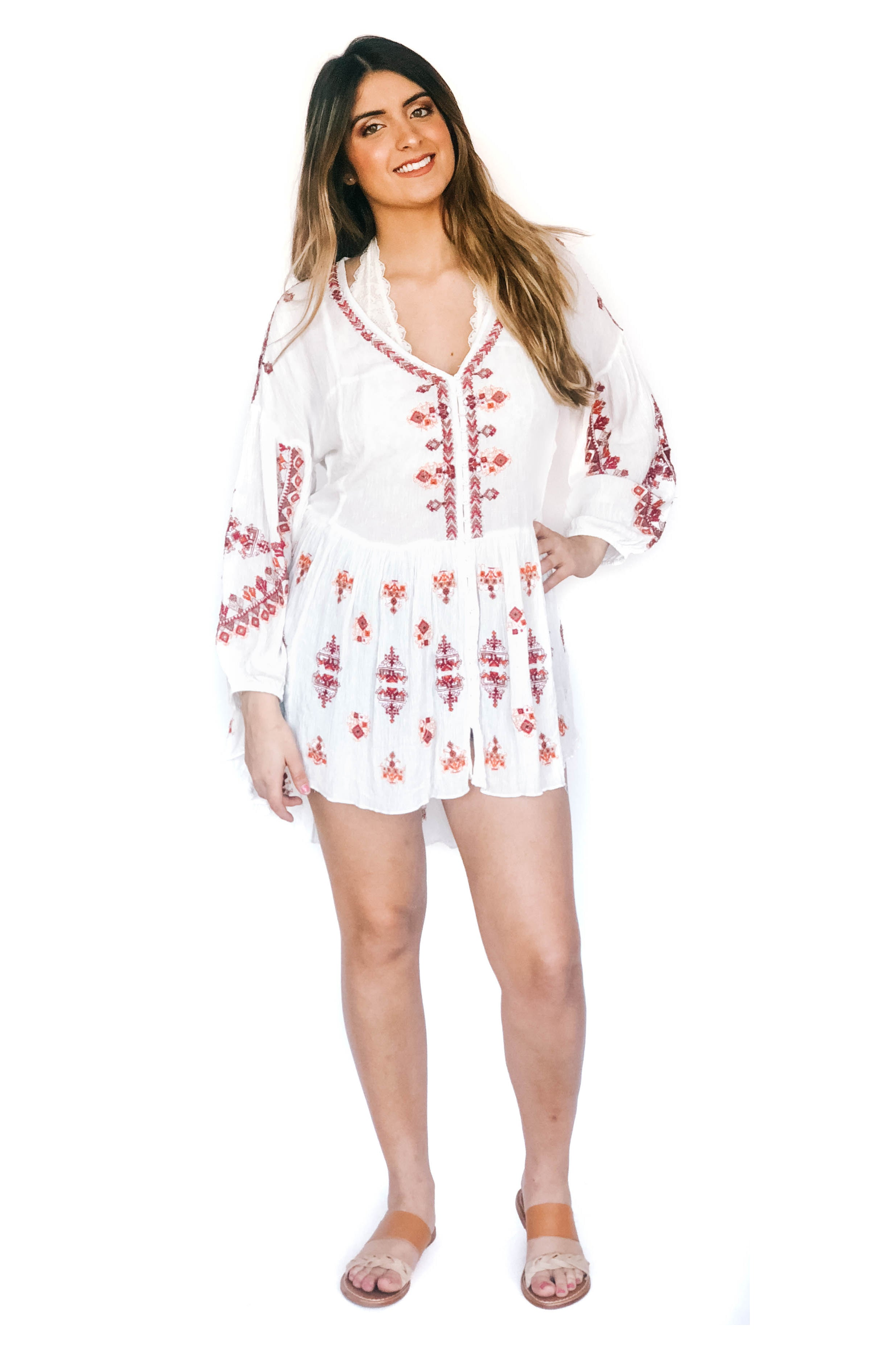 Ivory Arianna Embroidered Tunic