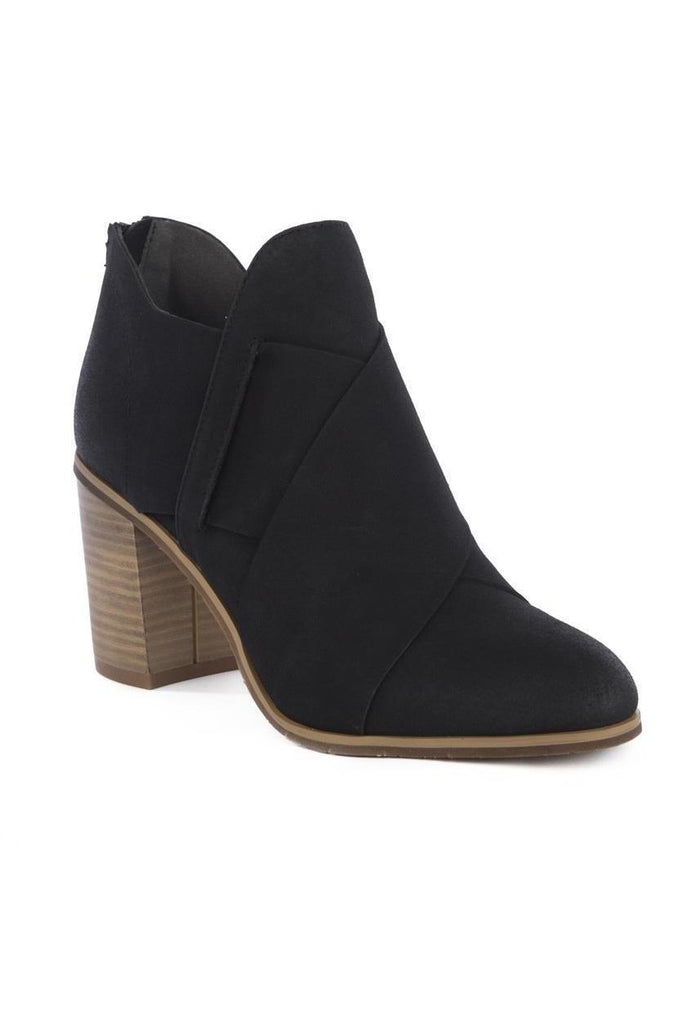 black bootie with cross overlap detail