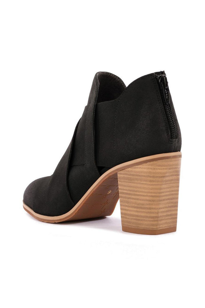 vegan black bootie with back zipper and cross overlap detail