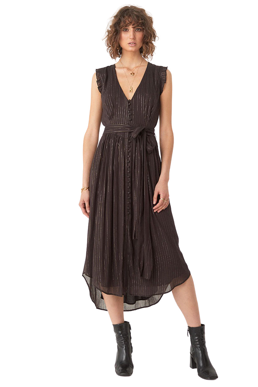 Black Mystic Sleeveless Midi Dress - Front