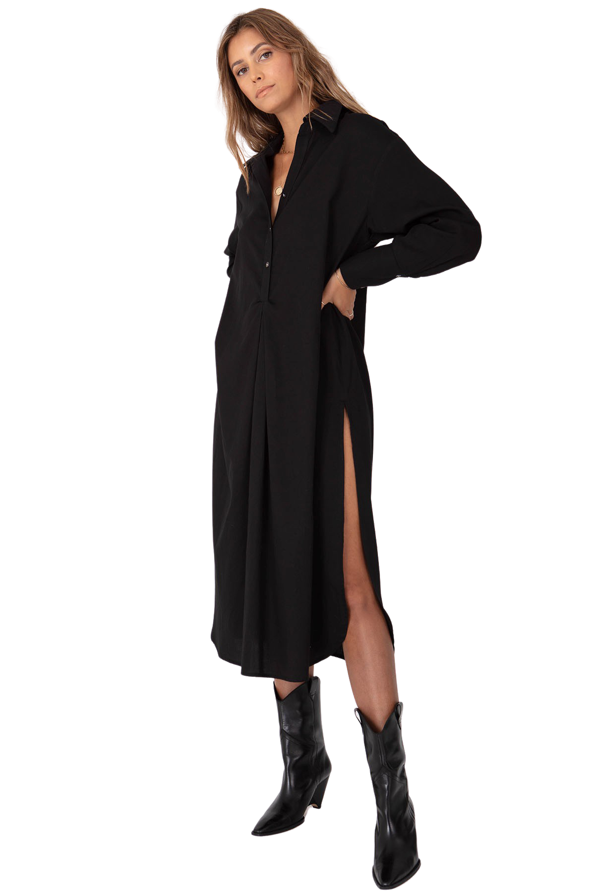 Black Shirting Tunic - Front