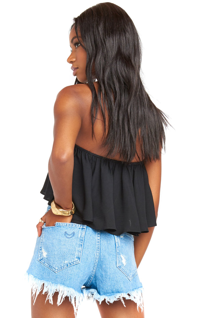 Black Heidi Ruffle Crop Top back