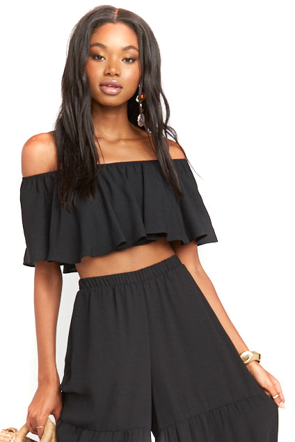 Black Heidi Ruffle Crop Top