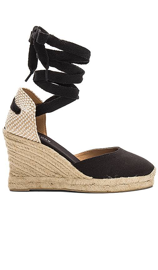 soludos black and linen wedge
