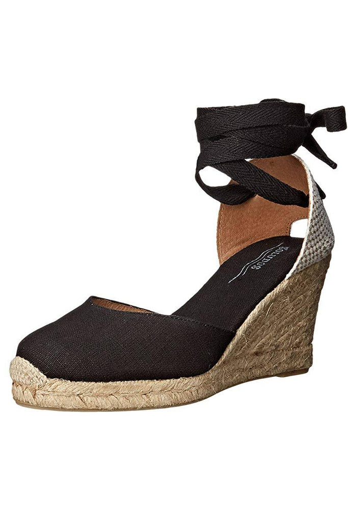 soludos black and linen tie up wedge side photo