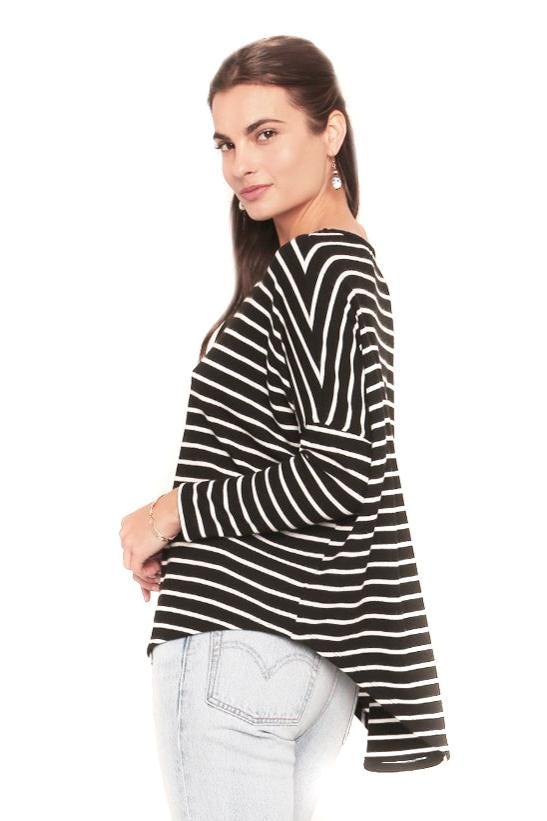 Black & White Stripe Tom Sweater Side