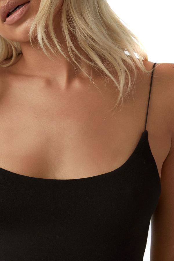 Joah Brown Black Open Back Cami - Close Up