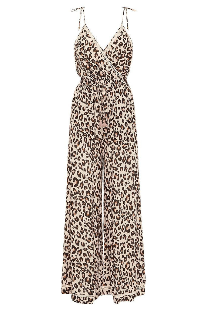 Spell & The Gypsy Collective Bodhi Leopard Jumpsuit - Flat Lay Front