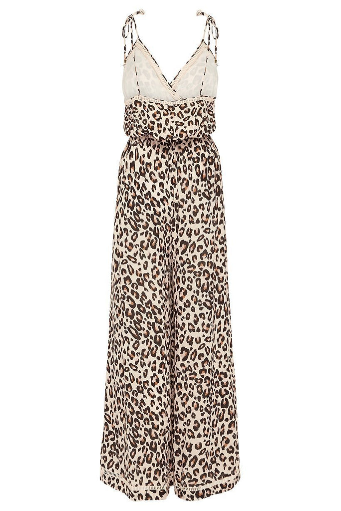 Spell & The Gypsy Collective Bodhi Leopard Jumpsuit isolated back view