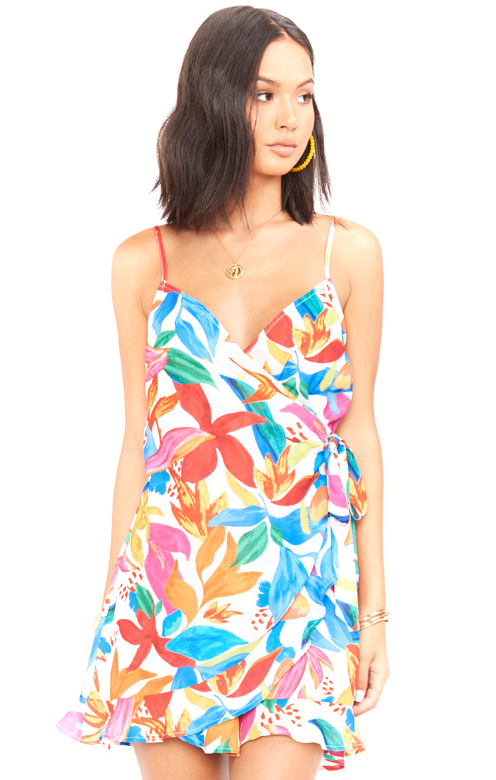 Bright Blooms Say Jay Ruffle Dress - Full Length