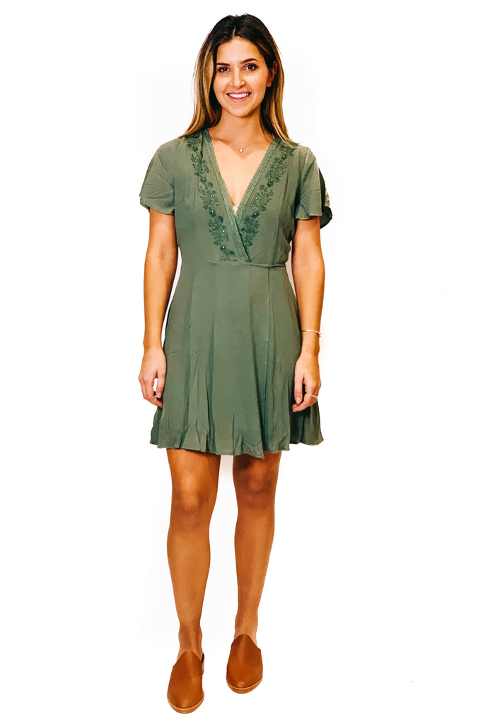 olive mini wrap dress with v neckline