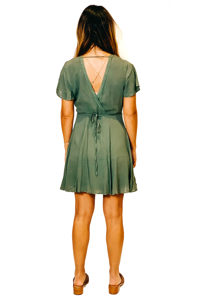 olive short sleeve mini wrap dress with back cut out and tie