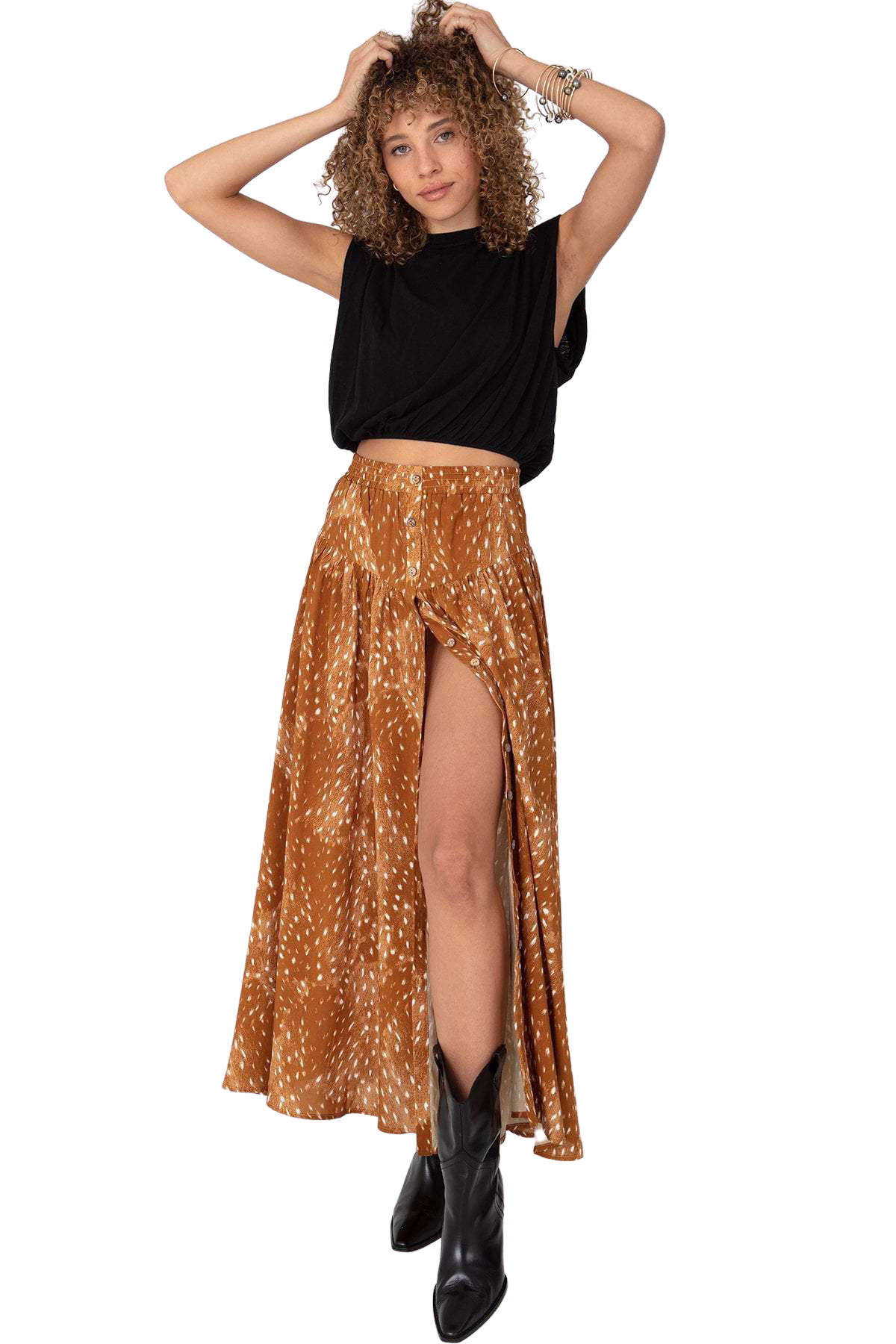 Caramel Bambi Button Front Maxi Skirt
