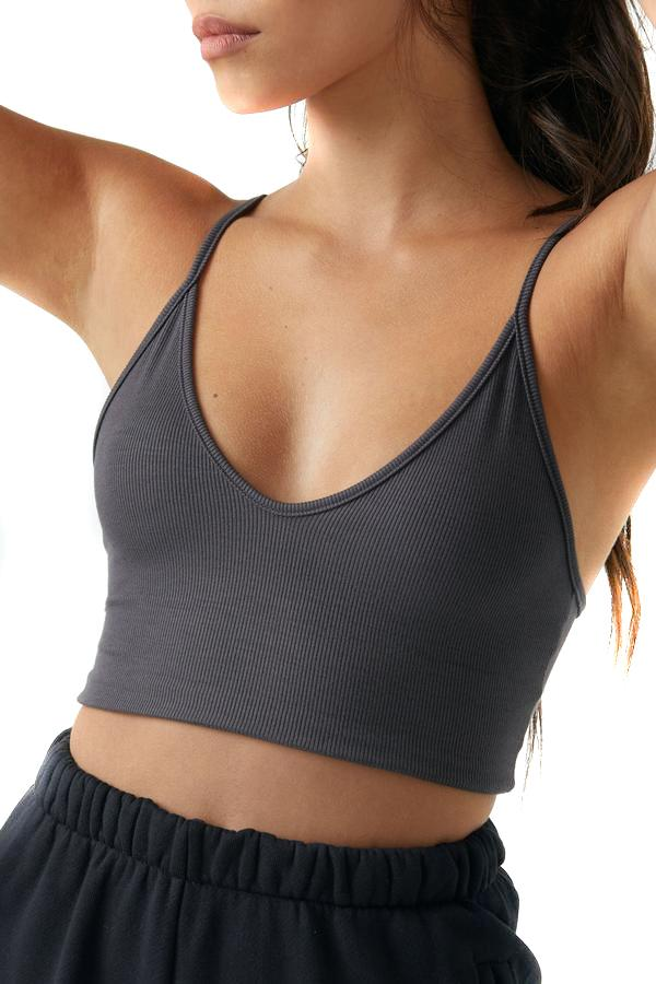 Joah Brown Charcoal Strappy Crop Tank Close Up