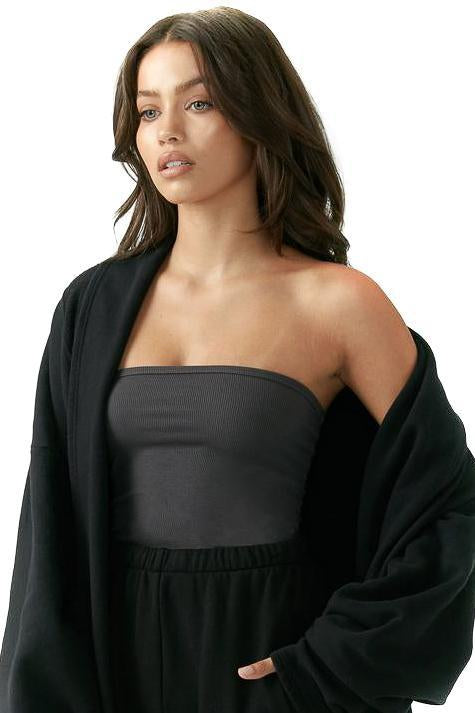 Joah Brown Charcoal Tube Top With Sweater