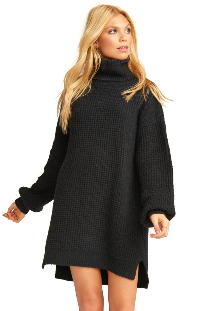 Show Me Your Mumu Black Knit Chester Sweater Dress