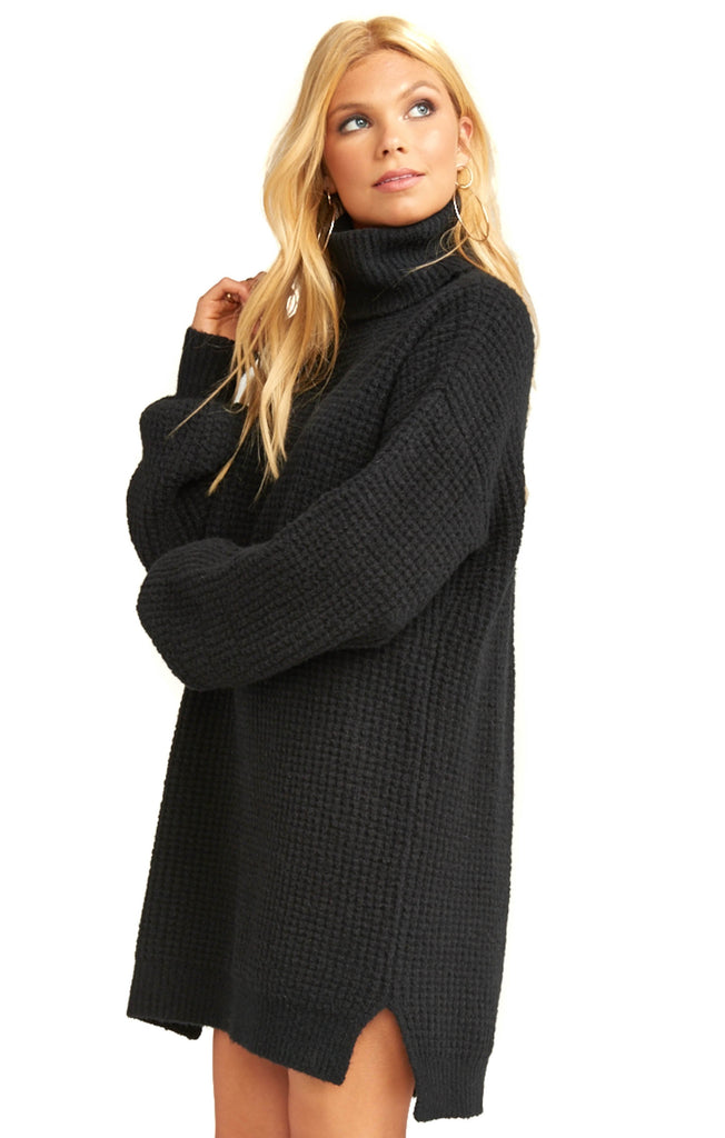 Show Me Your Mumu Black Knit Chester Sweater Dress - Side