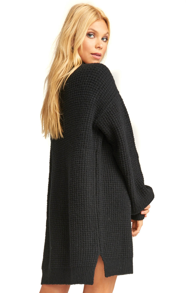 Show Me Your Mumu Black Knit Chester Sweater Dress - Back