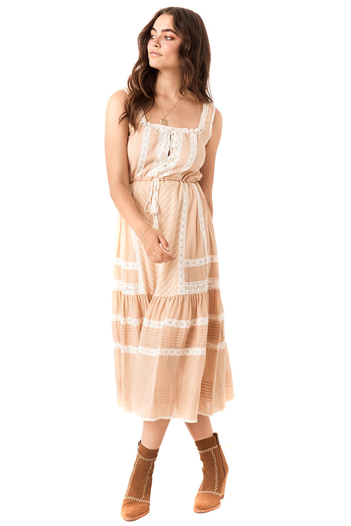 Nude Cinder Midi Dress - front