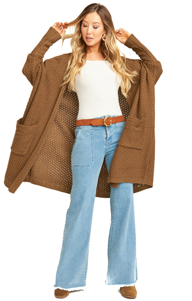 show me your mumu oversized chestnut knit cardigan
