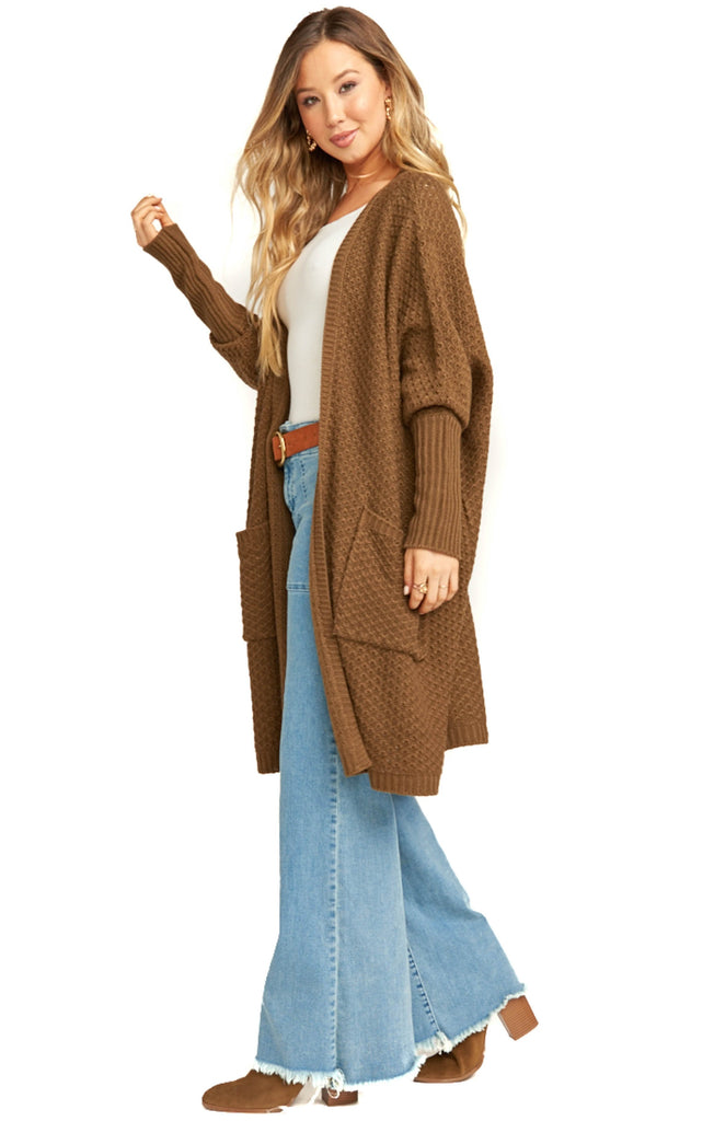 side of show me your mumu oversized chestnut knit cardigan with pockets