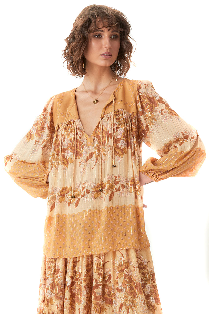 Spell & The Gypsy Collective Caramel Coco Lei Blouse - Front Untucked
