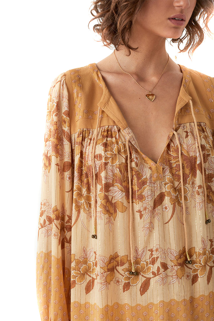 Spell & The Gypsy Collective Caramel Coco Lei Blouse - Close Up