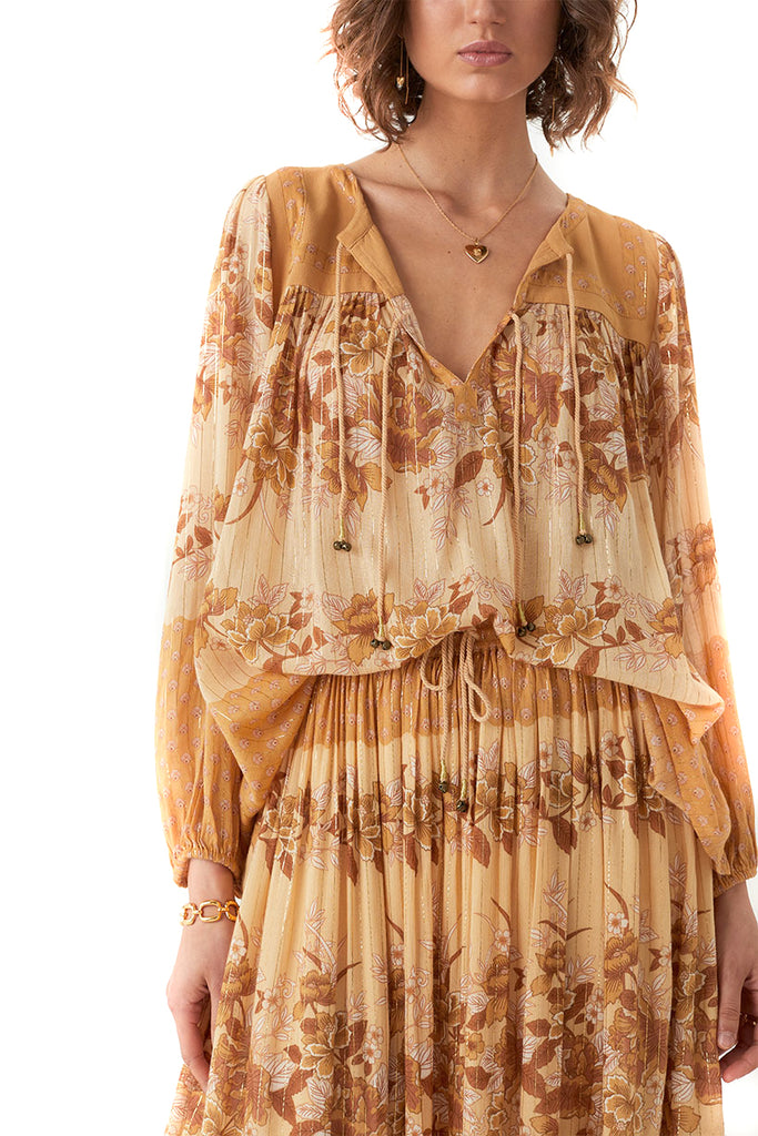 Spell & The Gypsy Collective Caramel Coco Lei Blouse - Front Tucked
