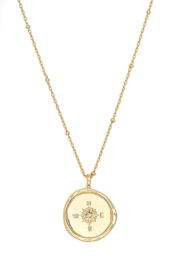 Gold Compass Coin Necklace
