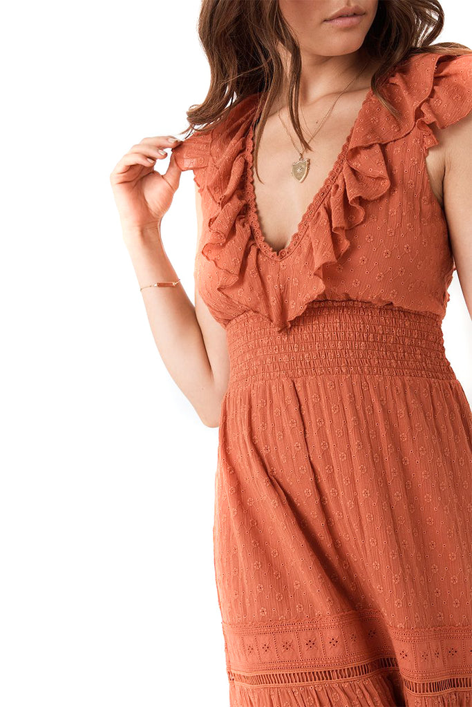 Copper Daisy Chain Frill Dress - detail