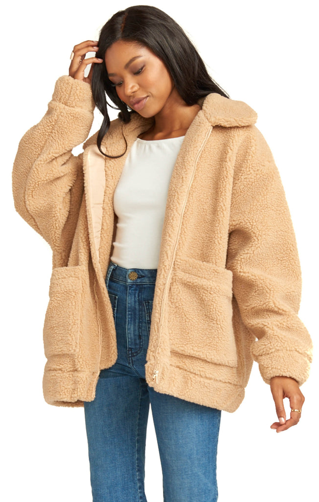 show me your mumu butterscotch oversized teddy coat