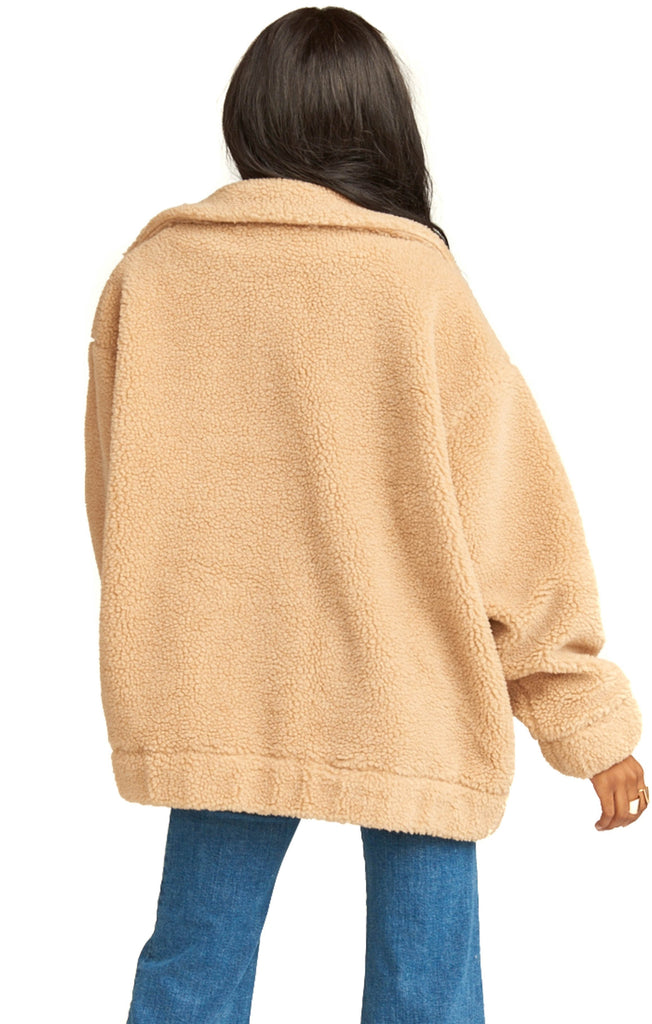 back of show me your mumu butterscotch oversized teddy coat