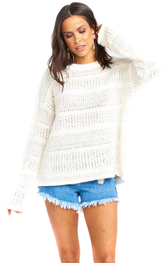 Cream De La Cream Jax Pullover with Denim Shorts