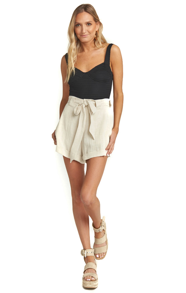 Cream Linen Hadley Shorts