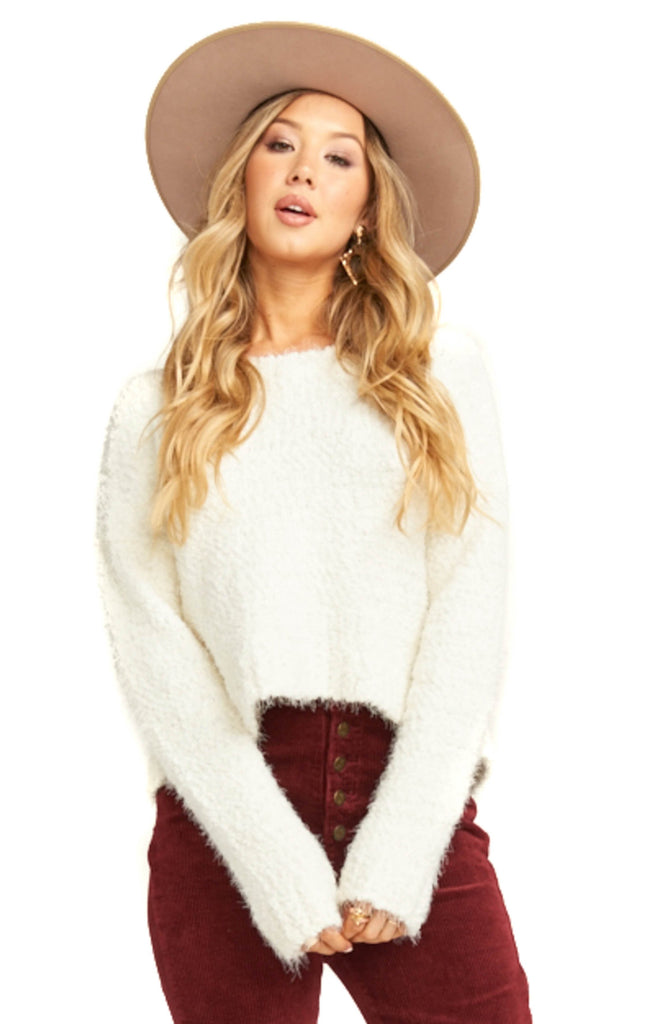 Show Me Your Mumu Knubby Knit Cream Cropped Varsity Sweater