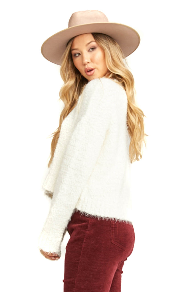 Show Me Your Mumu Knubby Knit Cream Cropped Varsity Sweater - Side
