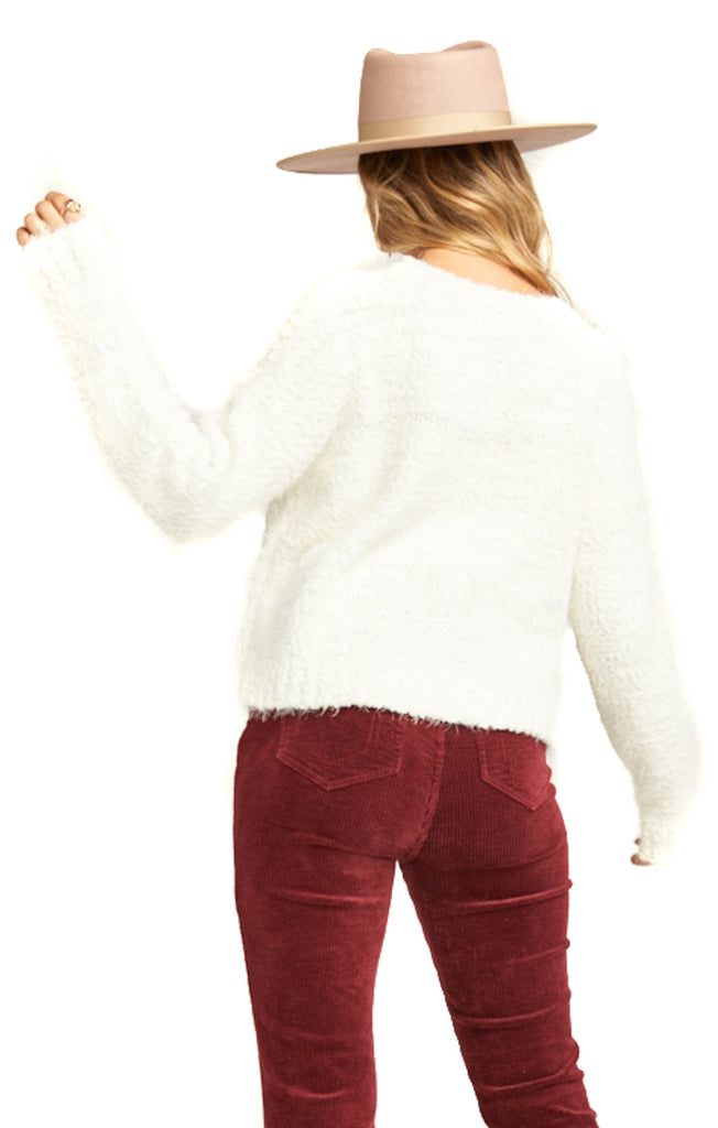 Show Me Your Mumu Knubby Knit Cream Cropped Varsity Sweater - Back