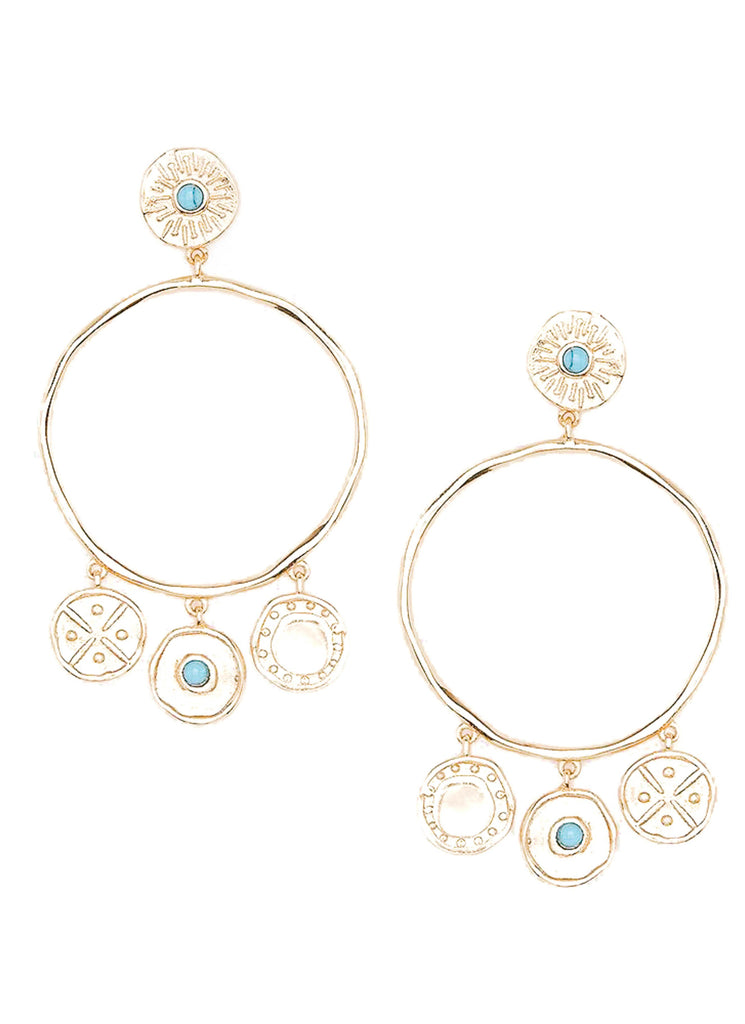 Gorjana gold Coin drop hoop earrings isolated photo
