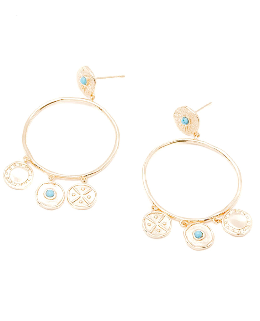 Gorjana Cruz Coin Drop Hoop Earrings