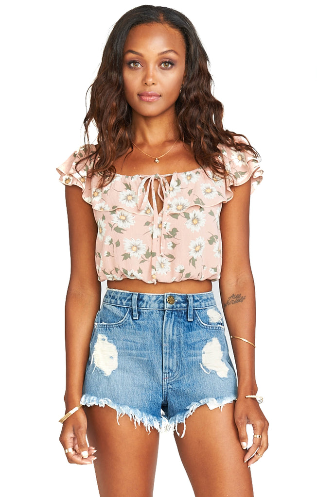 show me your mumu peach floral scrunched crop top